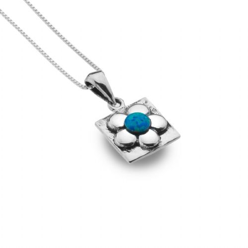 Blue Opal Flower Pendant Sterling Silver 925 Hallmarked All Chain Lengths